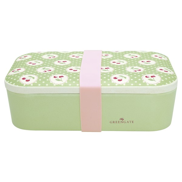Greengate Cherry berry p. green Bambus Lunch Box