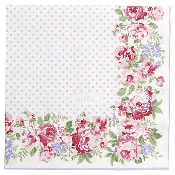 Greengate Rose white Papierservietten 33 x33 cm