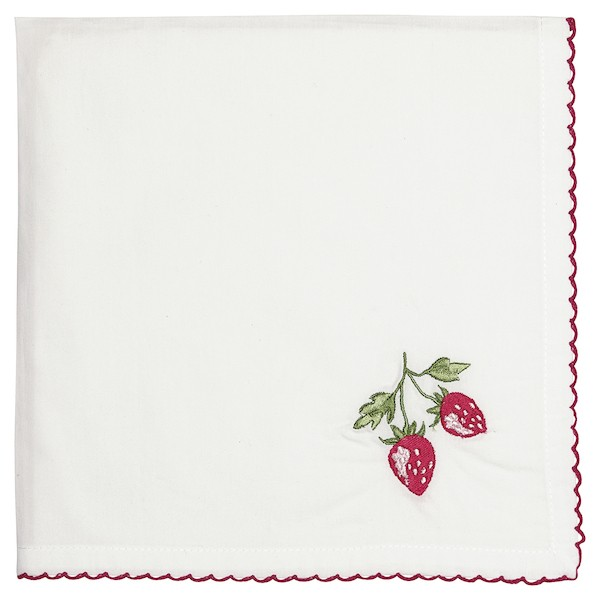 Greengate Strawberry red Stoffserviette mit Stickerei