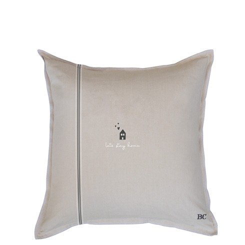 Bastion Collections Kissenhülle Naturel Chambray Let´s Stay Home