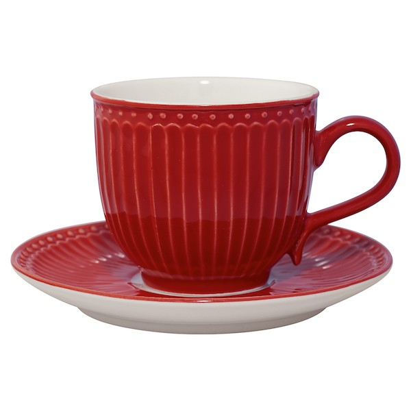 Greengate Alice red Tasse mit Unterteller